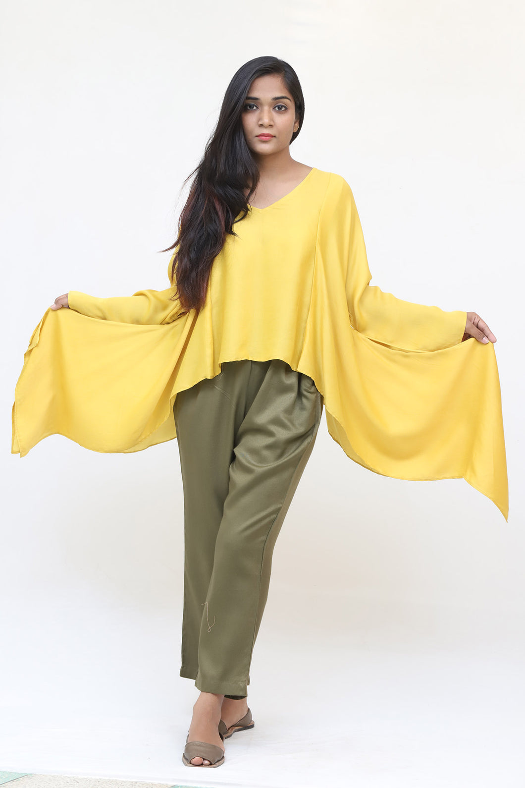 Short Yellow Silk Kaftan