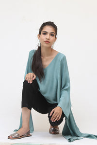 Short Mint Green Silk Kaftan