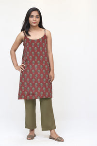 Maroon Flower Long Slip