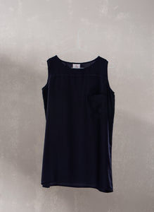 Pocket Sleeveless Top :  Blue