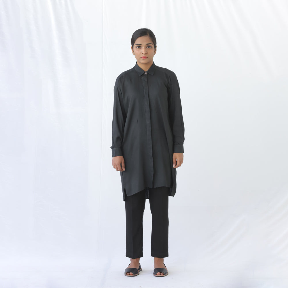 Long Button Shirt Black