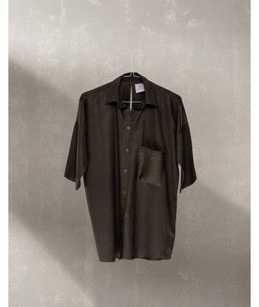 Drop Shoulder 3/4 Sleeve Shirt  : Charcoal