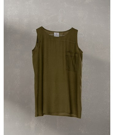 Pocket Sleeveless Top :  Khaki