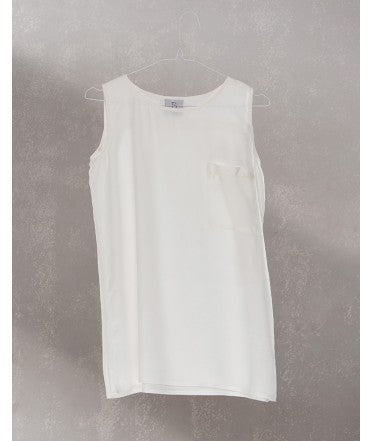 Pocket Sleeveless Top :  Off White