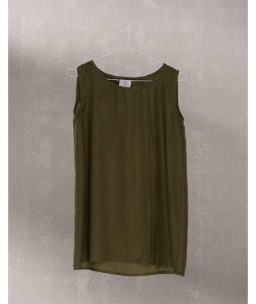 Sleeveless Top with Kantha Stitch :  Khaki