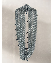 Load image into Gallery viewer, Jaali Print Infinity Scarves : Blue