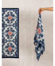 Load image into Gallery viewer, Bird Print Silk Scarf : Blue