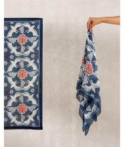 Bird Print Silk Scarf : Blue