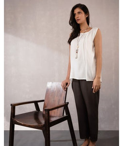 Sleeveless Top with Kantha Stitch :  Off White