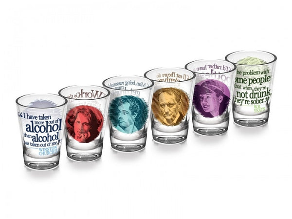 GREAT-DRINKERS-SHOT-GLASS-SET-DRINKING-WRITERS-QUOTE-LITERATURE-GIFT-FUN-PARTY-ourgallerystore-museum-store-contemporary-art-high-design-functional-art