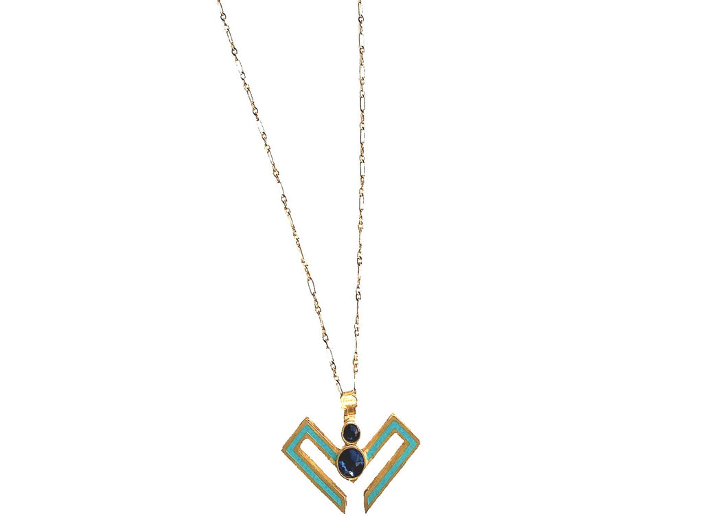 Alvaro Avila V Shaped Necklace with Semi Precious Stones