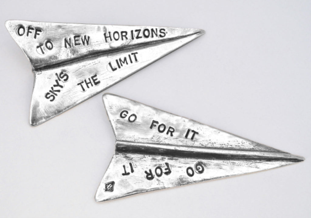 Tamara Hensick Pewter Paper Air Plane Off to New Horizons