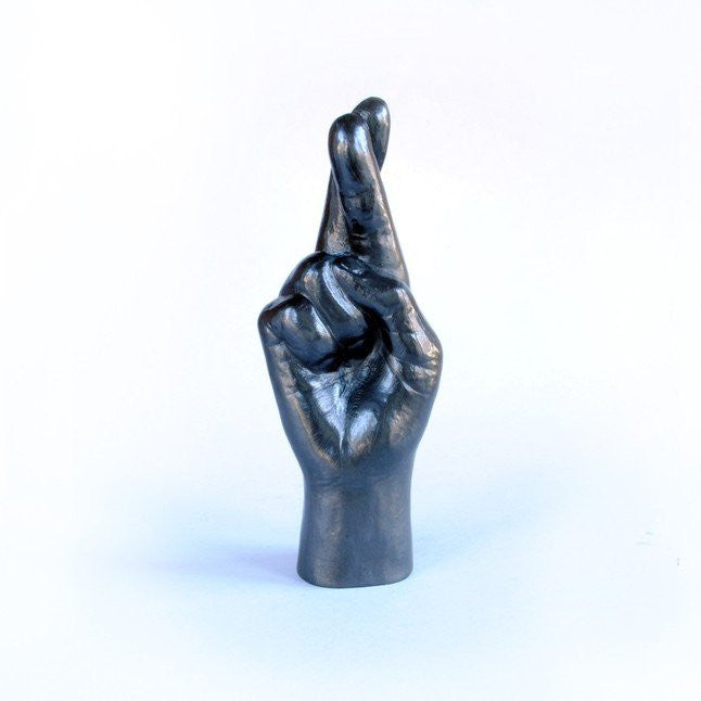 BATLE-STUDIOS-GRAPHITE-DRAWING-OBJECTS-CROSSED-FINGERS-PENCIL-ART-MINI-SCULPTURES-FUN-GIFT-ourgallerystore-museum-store-contemporary-art-high-design-functional-art