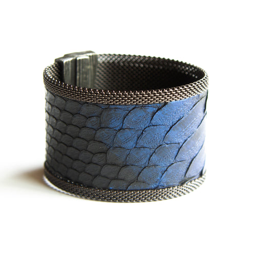Cynthia Desser Wide Black Snake Skin with Blue Stroke Cuff
