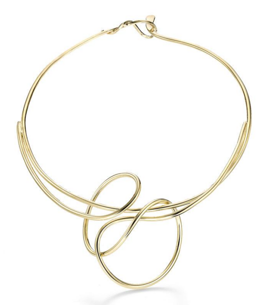gold plated brass wire necklace oblik atelier