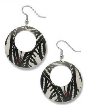 Round dangle earrings with black and white butterfly print.