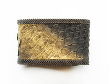 Cynthia Desser Wide Black Snake Skin with Gold Stroke Cuff