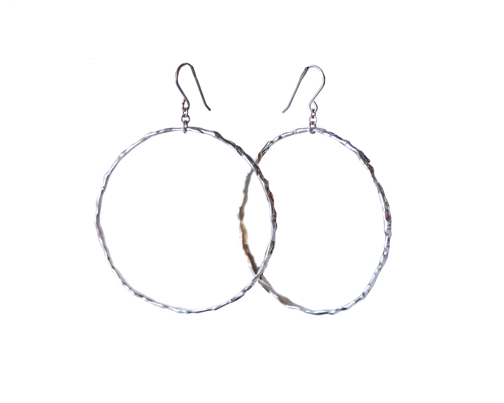 Erik Maes Organic Medium Silver Hoops