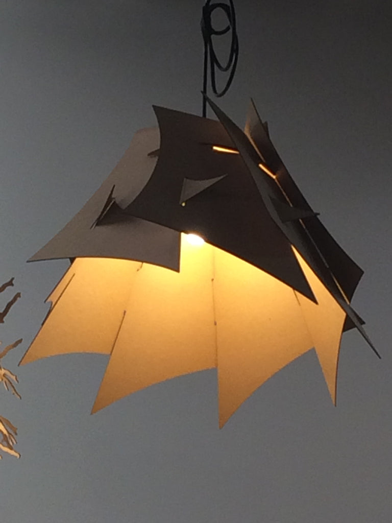 Pendant Lamp made of cardboard design.