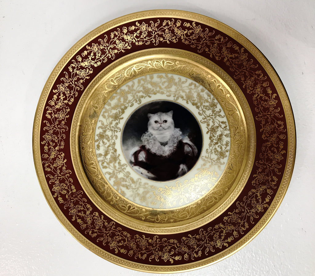 "Angela Rossi Cat Portrait Plate, 10.75"" diameter"