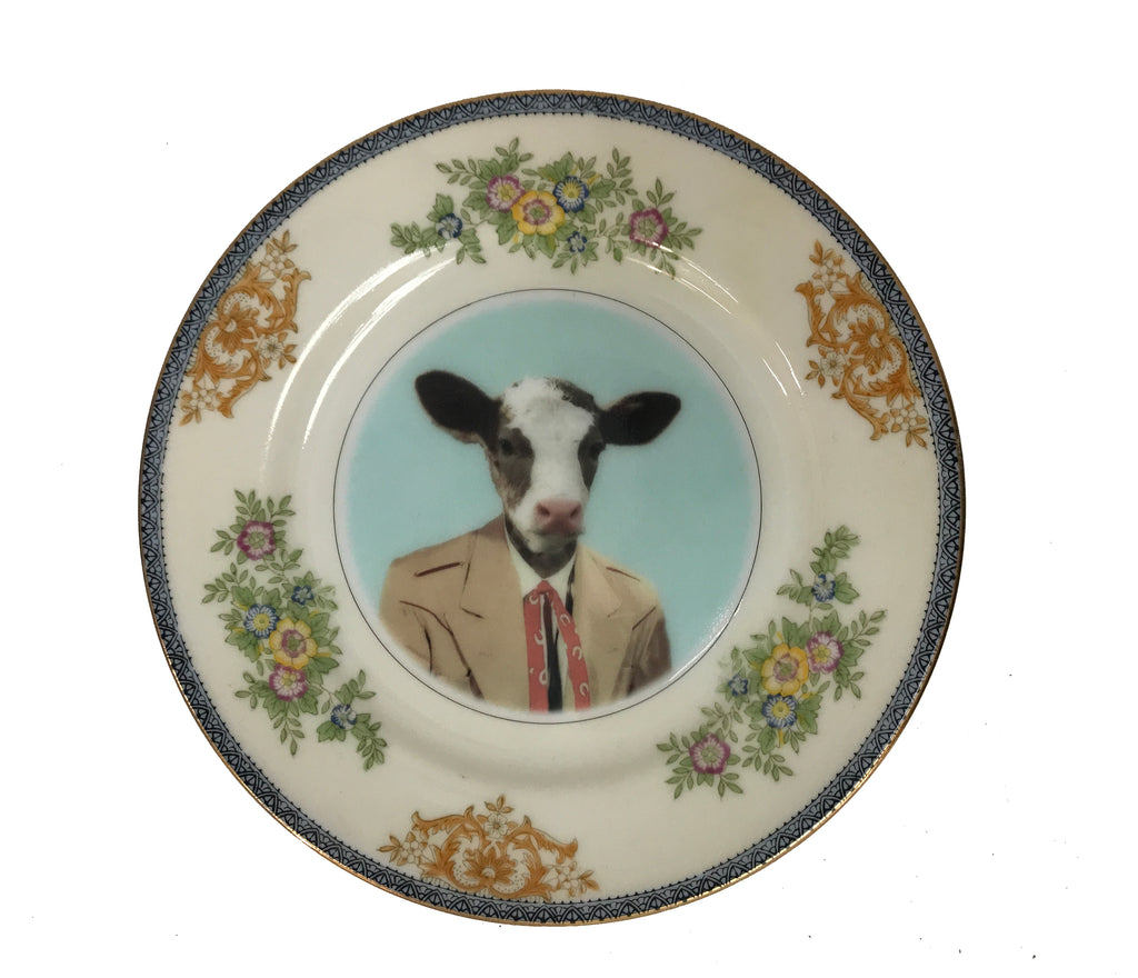 "Angela Rossi Cow Portrait Plate, 6.5"" diameter"