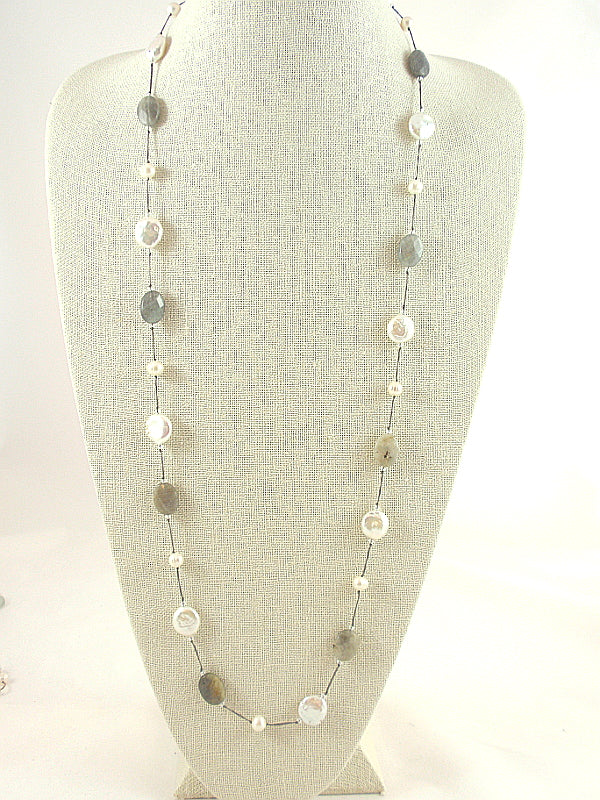 The Island Pearl Labradorite, Smoky Quartz and Freshwater Pearls
