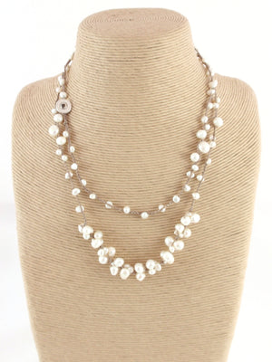 The Island Pearl Taupe Silk with Freshwater Pearls Necklace