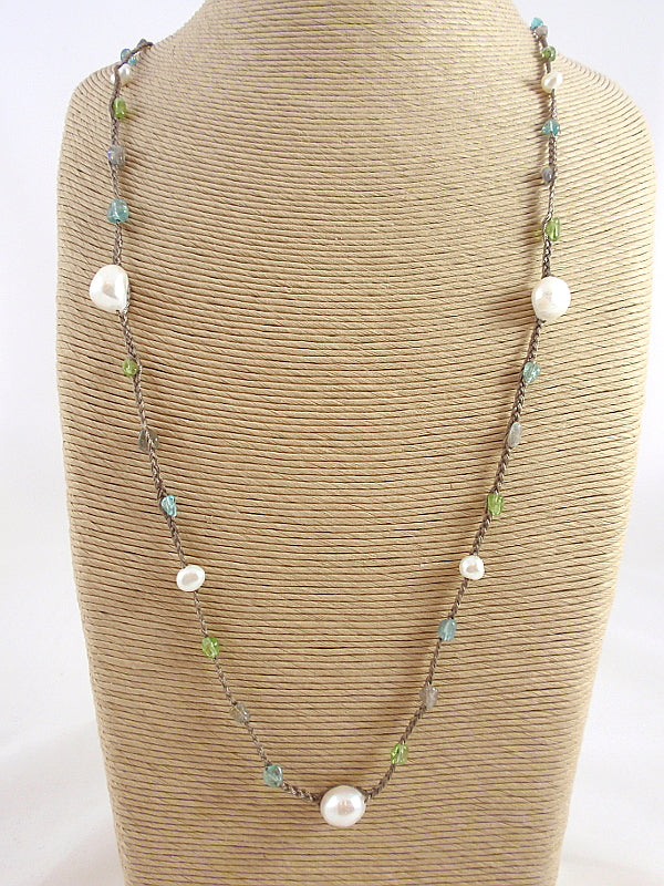 The Island Pearl Mixed Stone and Freshwater Pearl Necklace