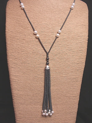 The Island Pearl Hematite Necklace with Tassel