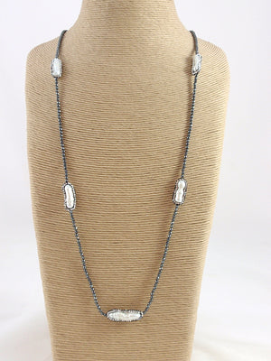 The Island Pearl Hematite and Biwa Pearls Necklace