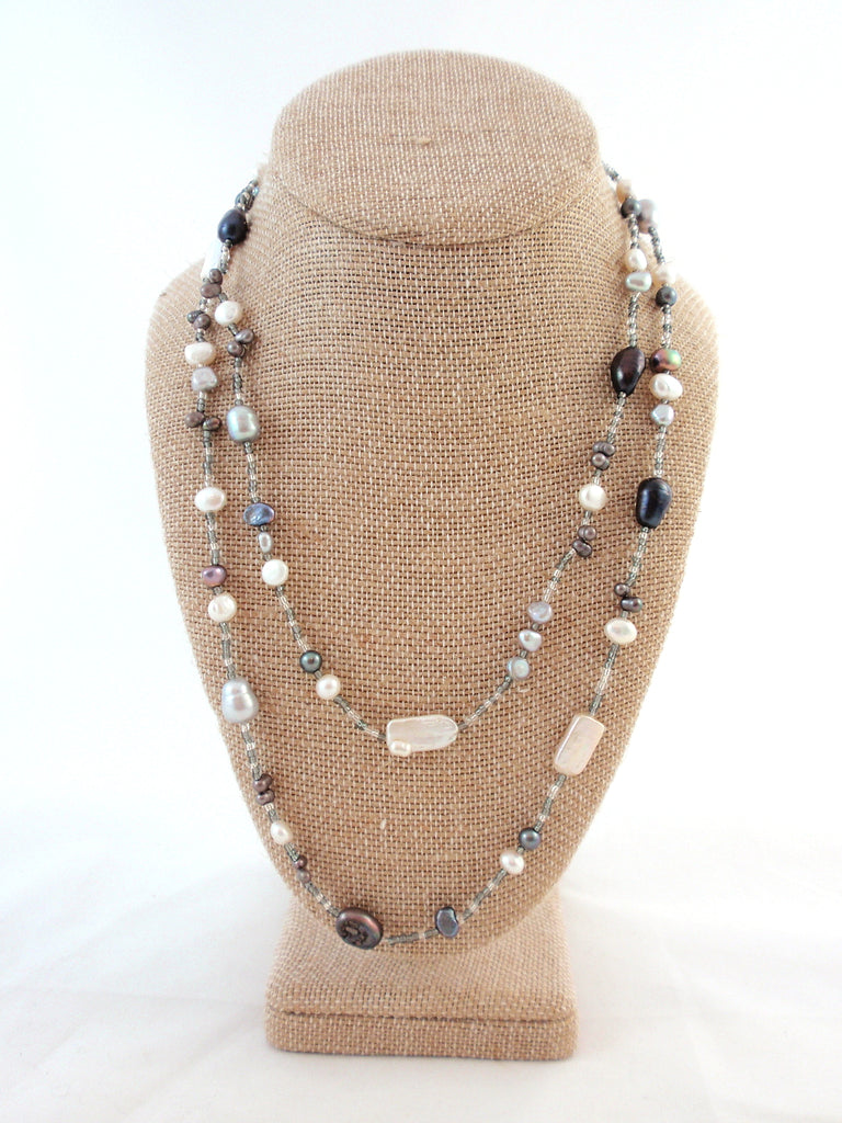 The Island Pearl Grey and White Bead and Freshwater Pearl Necklace