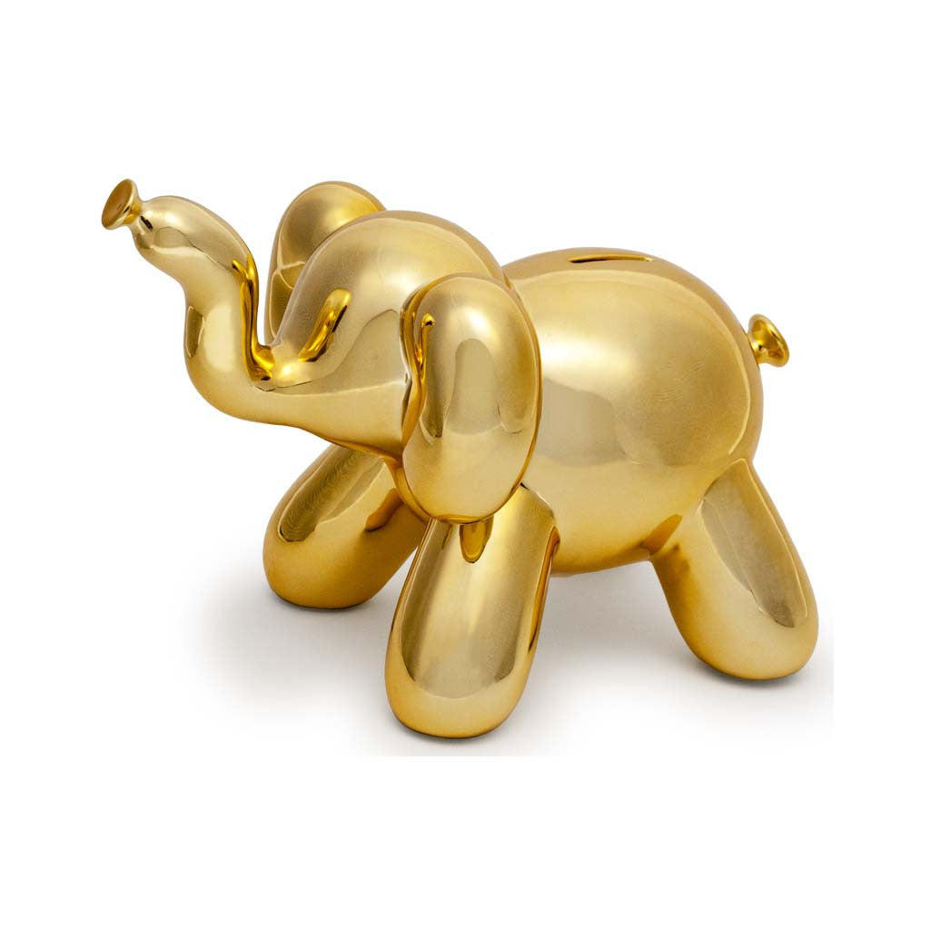 piggy bank, elephant bank, jeff koons, gold