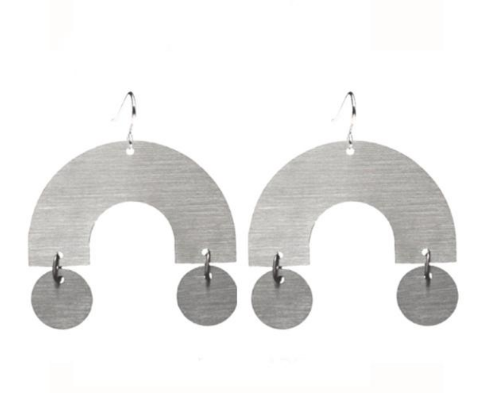 Stainless Steel Building Block Arc Circle Earrings Marie-Pier Labelle
