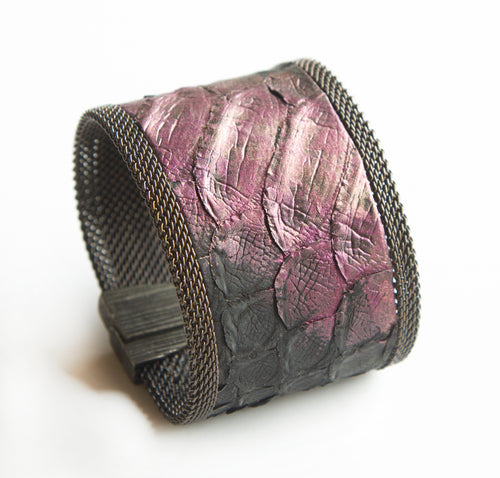 Cynthia Desser Wide Black Snake Skin with purple Stroke Cuff