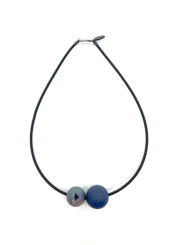 Lorraine Sayer Geode and Rubber Ball Necklace