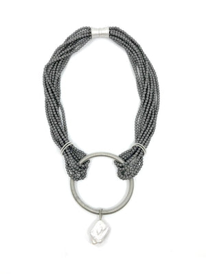 Sea Lily Gunmetal Matte Hematite Necklace with Silver Ring and Baroque Pearl