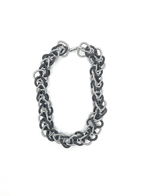 Sea Lily Silver/Black Chain Link Necklace