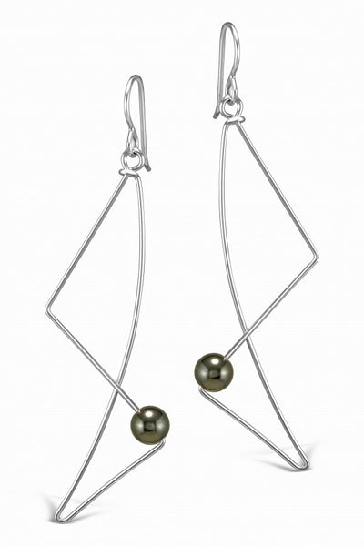 Saturn Silver Wire Earrings