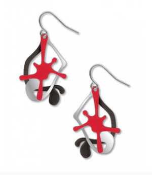 David Howell - Splatters, Red, Silver, and Black Earrings