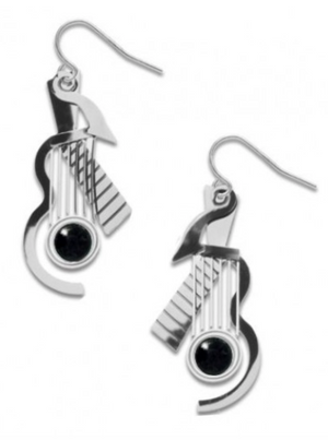 David Howell - Cubist Guitar Silver Earrings