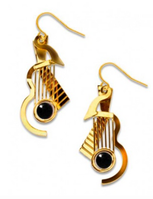 David Howell - Cubist Guitar Gold Earrings