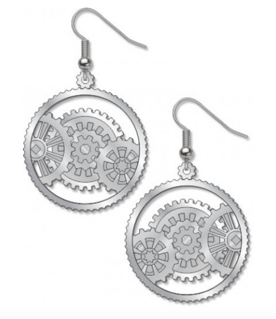 David Howell - The Machine Age Silver Gear Earrings