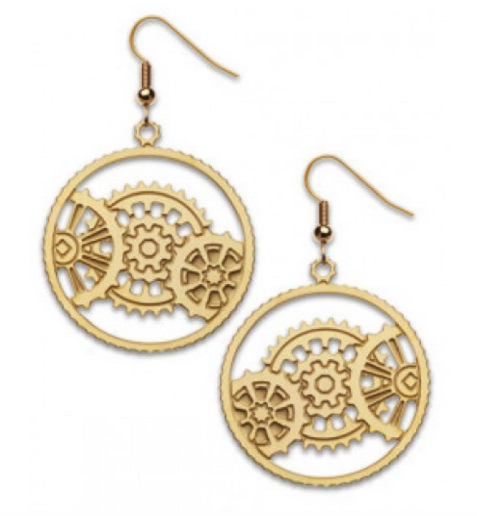 David Howell - The Machine Age Gold Gear Earrings