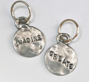 tamara hensick, imagine, create, pewter, keychain