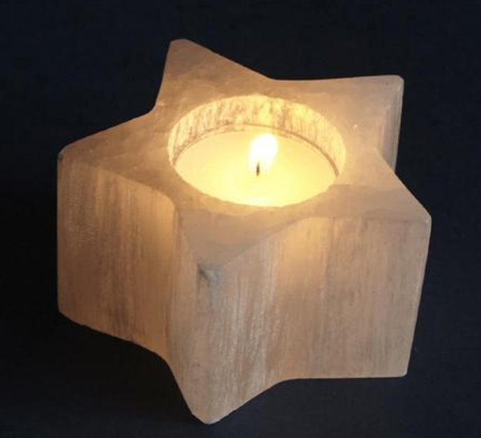 Selenite Star Tealight Holder