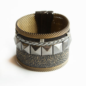 Cynthia Desser Black on Black Mixed Media Cuff