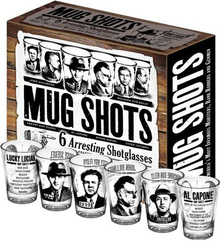 "UNEMPLOYED PHILOSOPHERS GUILD ""MUG SHOTS"" SHOT GLASSES 1422900690 LIVING DINING DRINKING MUG SHOT SHOT GLASS ourgallerystore museum store contemporary art high design functional art"