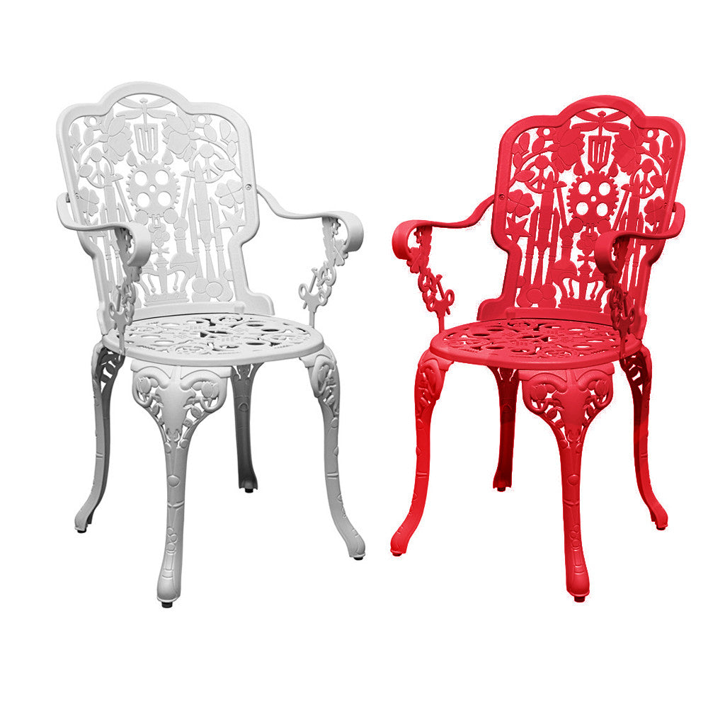 Seletti Studio Job Aluminum Armchair Red White