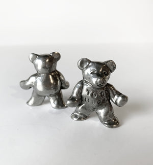 "Tamara Hensick Pewter Teddy Sculpture: ""To Go Hugs"""
