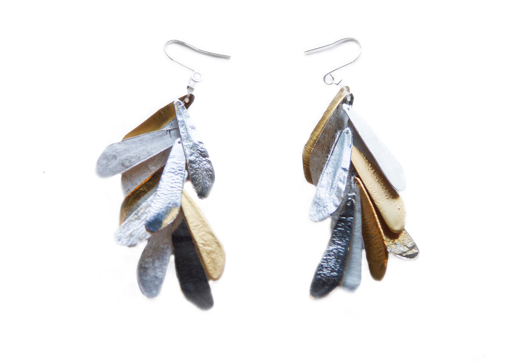 Diana Schimmel Sterling Silver and Gold Vermeil Silk Earrings